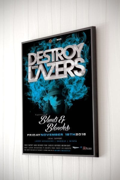 destroy with lazers poster framed