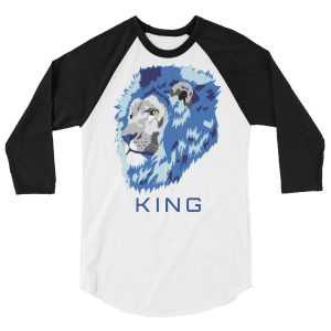 blue lion with text that says king on a shirt