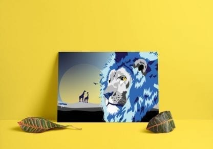Royal Blue Lion Poster Mounted